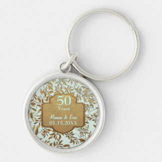 Leaves of Gold 50th Wedding Anniversary Silver-Colored Round Key Ring