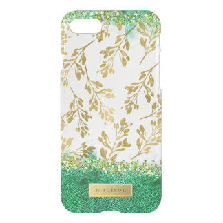 Leaves of Gold & Green Glitter Girly Personalized iPhone 8/7 Case