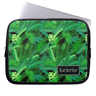 Leaves Of Tropical Palm Trees | Add Your Name Computer Sleeve