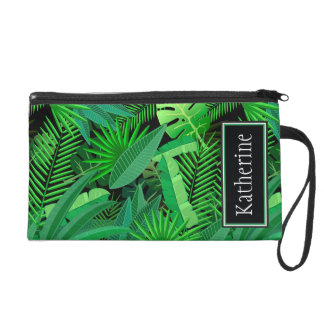 Leaves Of Tropical Palm Trees | Add Your Name Wristlets