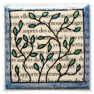 Leaves on French Text Tile Photo Print
