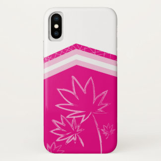 Leaves on Hot Pink iPhone X Case