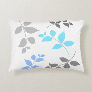 LEAVES PATTERN ACCENT PILLOW - Grey Blue Leaf