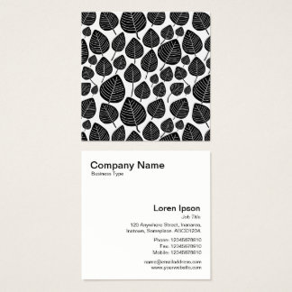 Leaves Pattern - Black on White Square Business Card