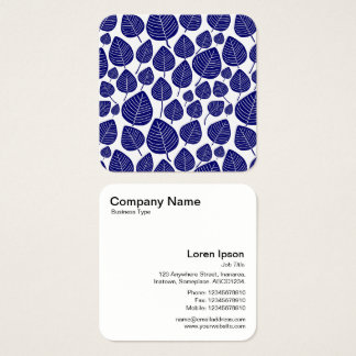 Leaves Pattern - Dark Blue Square Business Card