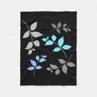 LEAVES PATTERN FLEECE BLANKET - Grey Blue Leaf