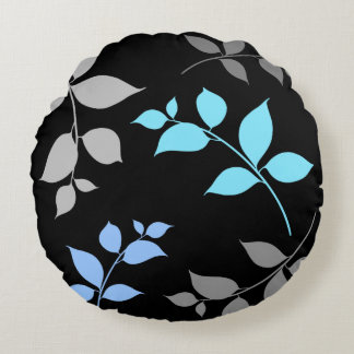 LEAVES PATTERN ROUND PILLOW - Grey Blue Leaf