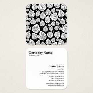 Leaves Pattern - White and Black Square Business Card
