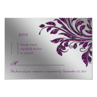 Leaves RSVP Wedding Reply Card Purple Sparkle
