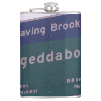 Leaving Brooklyn New York Fuhgeddaboudit Hip Flask