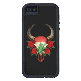 Lebanese Flag Bull Skull with Red Roses iPhone 5 Cases