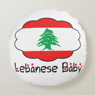 Lebanese Flag Pillow for Baby Round Cushion