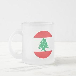 Lebanon Flag Frosted Glass Coffee Mug