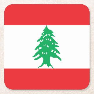 Lebanon Flag Square Paper Coaster