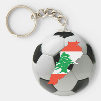 Lebanon football soccer basic round button key ring