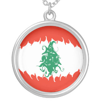 Lebanon Gnarly Flag Round Pendant Necklace