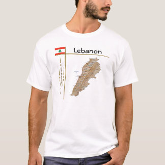 Lebanon Map + Flag + Title T-Shirt