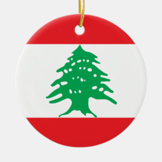 Lebanon National World Flag Ceramic Ornament