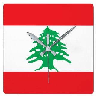 Lebanon National World Flag Square Wall Clock