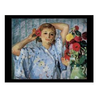 Lebasque Jeune Femme Aux Fleurs Postcard