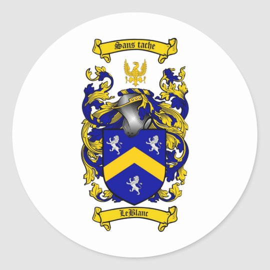 LEBLANC FAMILY CREST -  LEBLANC COAT OF ARMS ROUND STICKER