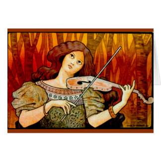 Lecons Music Violin Vintage Poster Card