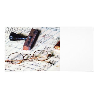 Ledger With Eyeglasses and Rubber Stamp Personalised Photo Card
