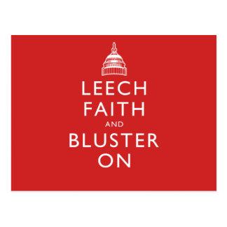 Leech Faith and Bluster On Postcard