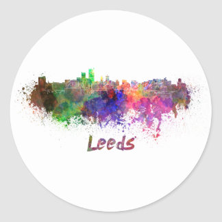 Leeds skyline in watercolor classic round sticker