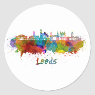 Leeds V2 skyline in watercolor Classic Round Sticker