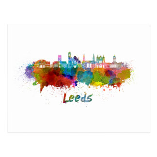 Leeds V2 skyline in watercolor Postcard