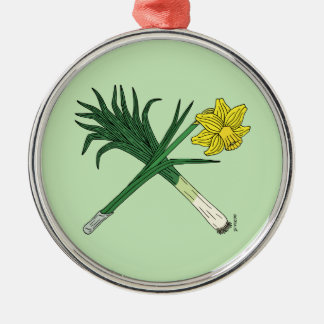 Leek and Daffodil Crossed Metal Ornament