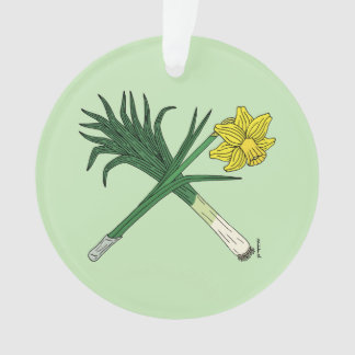 Leek and Daffodil Crossed Ornament