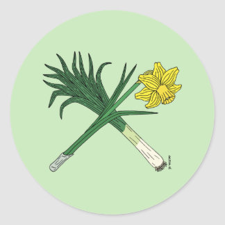 Leek and Daffodil Crossed Round Sticker