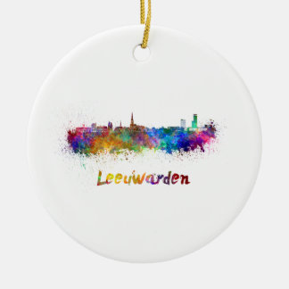 Leeuwarden skyline in watercolor ceramic ornament