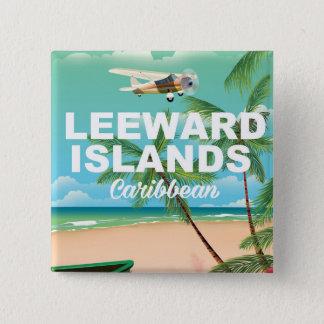 Leeward Islands retro travel poster 15 Cm Square Badge