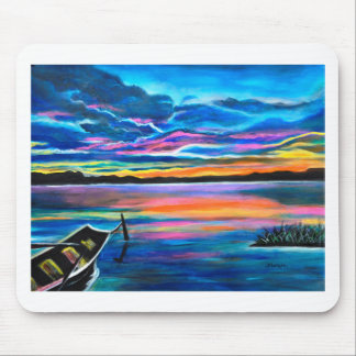 Left alone a seascape boat painting mouse pad
