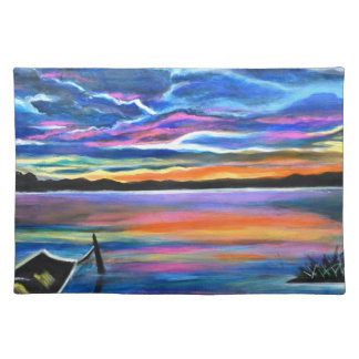 Left alone a seascape boat painting placemat