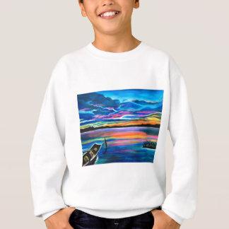 Left alone a seascape boat painting sweatshirt