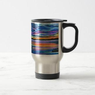 Left alone a seascape boat painting travel mug