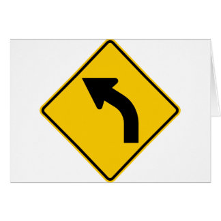 Left Curve Ahead Highway Sign Card