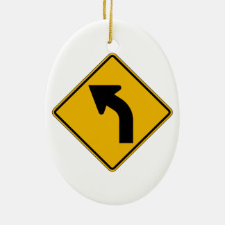 Left Curve, Traffic Warning Sign, USA Ornaments