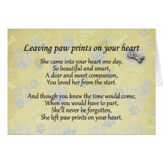 Left paw prints on heart pet loss sympathy card