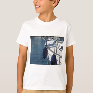 Left side of sailing boat with two blue fenders T-Shirt