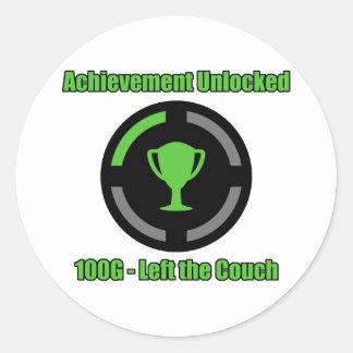 Left the Couch - Achievement Unlocked Round Sticker