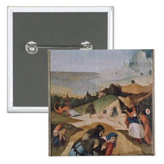 Left wing of the Triptych of the Temptation of 15 Cm Square Badge