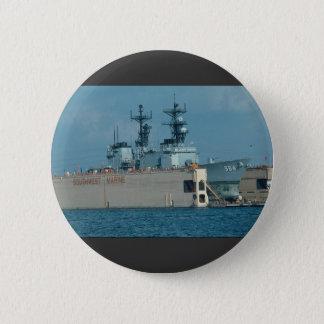 "Leftwich"" in drydock, sonar dome in view, San Dieg 6 Cm Round Badge"