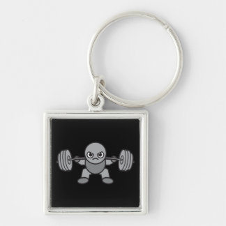 Leg Day - Squat - Kawaii Weightlifter Silver-Colored Square Key Ring