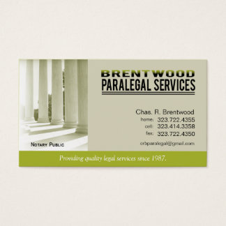 Legal1 Paralegal Law Office Services Notary Public Business Card