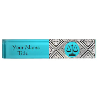 LEGAL OFFICE, ATTORNEY TEAL BLUE WHITE DAMASK NAMEPLATE